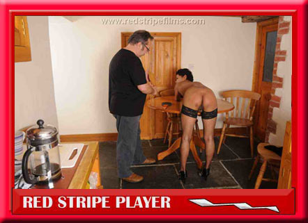 Housemaid bent over for the paddle